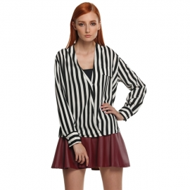 c10a94ce1c64a Tops   Blouses Zeagoo Women s Stripes Long Sleeve Turn-down Collar Blouse  ((US