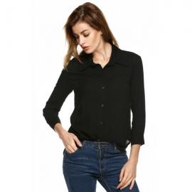 fc940a6854 Tops   Blouses Zeagoo Women Fashion Lapel Casual Solid Button Down Shirt  Top Blouse