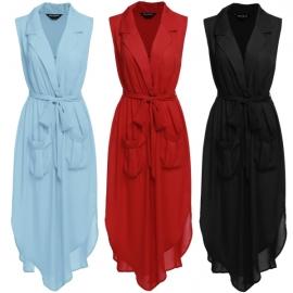 Dresses Zeagoo Womens Summer Sleeveless V Neck Split Tie-waist Pockets Long  Dress 6f9587f75