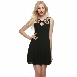 5e2996a52b10 Midi Zeagoo Women Cut Out Backless A-Line Flare Skater Chiffon Cocktail  Party Dress