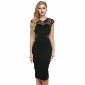 d96a6a9e328 Midi Zeagoo Women s Sexy Sleeveless Hollow Out Shoulder Sheath Lace Bodycon  Dress