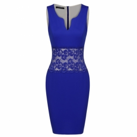 591acc61c8a All Zeagoo Women Plunging V Neck Lace Slim Fit Bodycon Cocktail Dress