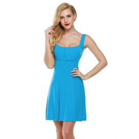 9b010027fd6 Dresses Zeagoo Women Sleeveless Empire Waist Solid Flare Fit A-Line Mini  Dress