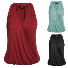 64dfd5da3e2e Tops   Blouses Zeagoo Women V-Neck Drape Wrap Elastic Hem Solid Tank Top