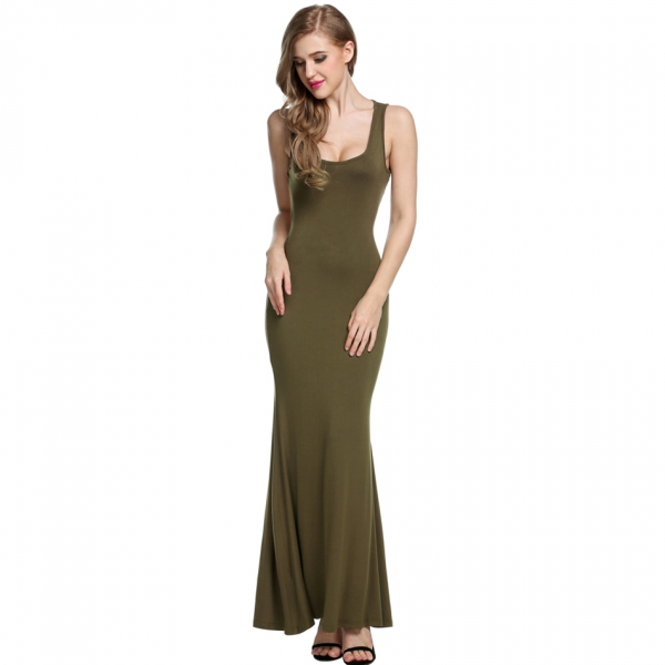 d65b741bdca Zeagoo Sexy Women Sleeveless Backless Hollow Back Maxi Long Party Dress
