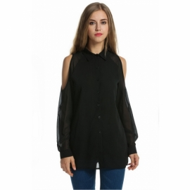 03986bb7b58 Outwear Zeagoo Women s Off Shoulder Long Sleeve Button Down Shirts Casual  Blouse Tops