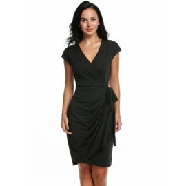 6775bf36017 All Zeagoo Women s Classic Cap Sleeve V-Neck Draped Tie-Belt Cocktail Wrap  Dress
