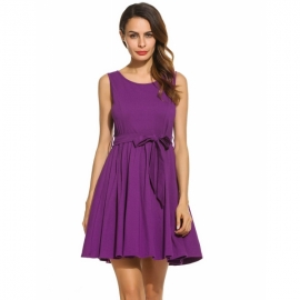 88da309106 All Zeagoo Women Sleeveless Solid Fit and Flare Cocktail Party Pleated  Dress With Belt