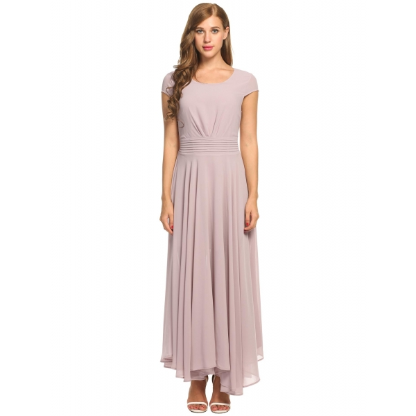 Zeagoo Women S Casual Cap Sleeve Ruched Chiffon Bridesmaid