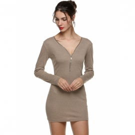 bad9de58dd754 Zeagoo Hot Women Sexy Zipper V Neck Long Sleeve Slim Bodycon Party Evening Mini  Dress